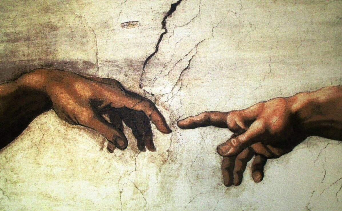 The Creation of Adam hands